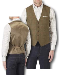 SKOPES Wool Blend Traditional Check Waistcoat BROWN MONTROSE