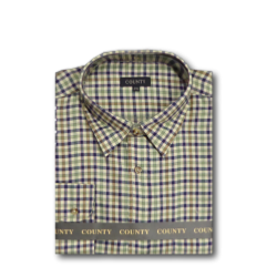 COUNTY Tattersall Brushed Check Shirt SAGE/NUTMEG/NAVY (A)  2XL