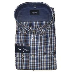 BEN GREEN PURE COTTON  LONG SLEEVE CHECK SHIRT - NAVY/BROWN  3 - 5XL