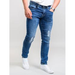 "SALE - D555 Couture Stretch Jeans with Abrasions and Rips BOXWELL - STONEWASH  42 - 56"" S/R"