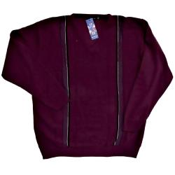 INVICTA Vee Neck Jacquard Pullover WINE 2XL