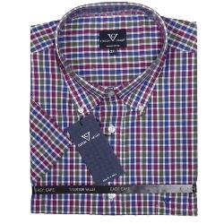 COTTON VALLEY  COTTON RICH CHECK SHORT SLEEVE SHIRT NAVY /  WINE / BOTTLE 2 - 8XL