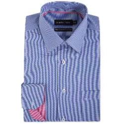 "DOUBLE TWO Gingham Check Long Sleeve Formal Shirt  NAVY 22"" 6XL"