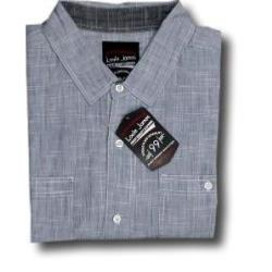 LOUIE JAMES Fine Woven Summer shirt with twin chest pockets OCEAN BLUE