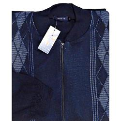 INVICTA Jacquard Zipper Cardigan NAVY 2 - 5XL