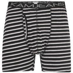 KAM TWIN PACK COTTON STRETCH JERSEY BOXER SHORTS STRIPED BLUE / GREY 2 - 8XL
