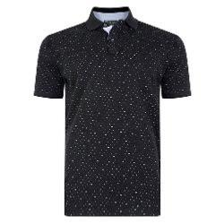 KAM PRINTED DOBBY POLO WITH POCKET BLACK 6XL