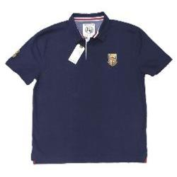 RAGING BULL  Natural Cotton Twill Rugby Shirt NAVY