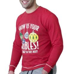 D555 CHRISTMAS SWEATSHIRT BAUBLES - RED 4XL