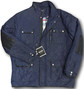 SAXON Classic Heritage Diamond Quilt Coat with elbow patches DURHAM NAVY