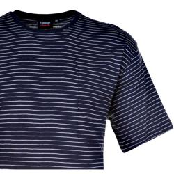 SALE - ESPIONAGE  SOFT COTTON STRIPE TEE WITH CHEST POCKET  NAVY/WHITE 2 - 8XL