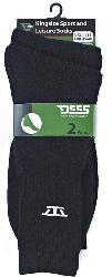 D555 Kingsize Sports and Leisure Socks 2 Pair Pack BLACK
