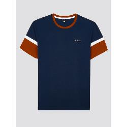 GENUINE BEN SHERMAN  CLASSIC RETRO SPORT COLOR BLOCK TEE NAVY/CINNAMON 2 - 4XL