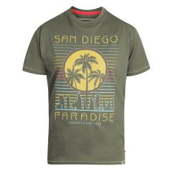 D555  BIG MENS PRINTED COTTON CREW NECK TEE SAN DIEGO PARADISE KHAKI 3 - 6XL