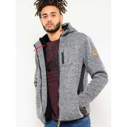 D555 ZIP THROUGH  HOODY WITH SHERPA LINING OZARK GREY MARL  3 - 6XL