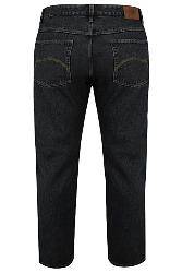 "SALE JEANS - BAD RHINO Black Denim Straight Leg Jeans  40-50"" Short and Regular"