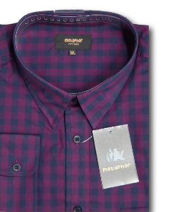 METAPHOR Check Shirt with Chest Pocket NAVY/WINE 7XL