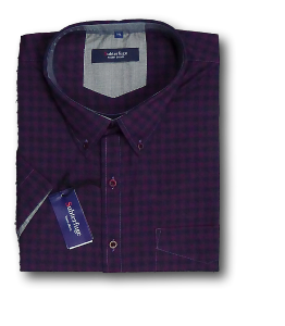 ESPIONAGE Cotton Check Casual Shirt NAVY/WINE