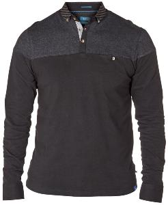 D555 Long Sleeve Polo shirt with shoulder panel and button down shirt collar BLACK