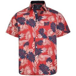 KAM Short Sleeve Floral Print Cotton Shirt RED