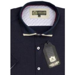 LOUIE JAMES Exclusive Cotton Rich Fashion Shirt with double collar NAVY 6XL