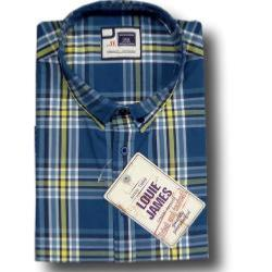 LOUIE JAMES Natural Cotton Casual Check BLUE  5XL