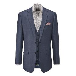 SKOPES HERITAGE LINEN BLEND SUIT JACKET NAVY CARLO