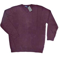 ESPIONAGE  Cotton vee Neck Pullover  WINE 2 - 6XL