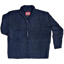 METAPHOR Casual Ribbed Knit Zipper Big Size Cardigan DARK NAVY