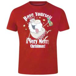 D555  MERRY CHRISTMAS TEE SHIRT MISTLETOE  RED 3 - 6XL