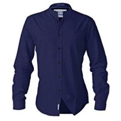 D555 Long Sleeve Collarless  Shirt BERNARD NAVY