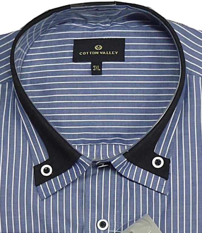4f7c49cab COTTON VALLEY Long Sleeve Striped with fashion Collar BLUE