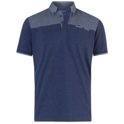 D555  SHORT SLEEVE  POLO WITH PRINTED YOKE  AND BUTTON DOWN COLLAR BRENT DENIM MARL 3 - 6XL