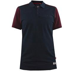 SALE - D555 KING SIZE MENS CUT AND SEWN COTTON PIQUE POLO WITH CHEST POCKET TERRACE NAVY 5 - 8XL