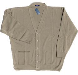 Big Men's Acrylic Button through Cardigan TAUPE 2 - 8XL