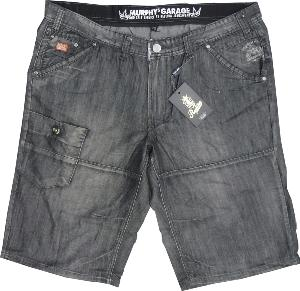 REPLIKA JEANS Washed Grey Denim Long Cargo Shorts