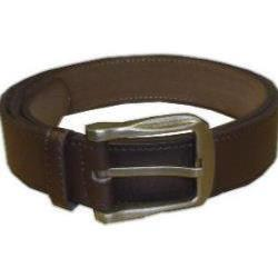 Duke Large Buckle Bonded Leather Wide Belt BROWN