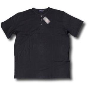ESPIONAGE Cotton Grandad Tee Shirt BLACK