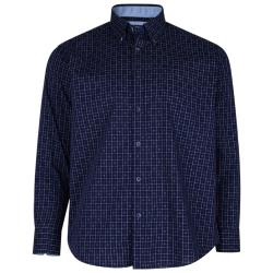 KAM LONG SLEEVE WOVEN COTTON  SHIRT WITH CHECK DETAIL NAVY 2 - 8XL
