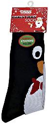 D555  Christmas Cotton rich King Size Socks BLACK PENGUIN 12 - 15 UK