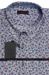 LIZARD KING Small Floral Print Shirt  Short Sleeve WHITE/BLUE/RED 6XL