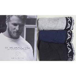 SALE - REPLIKA JEANS STRETCH COTTON BOXERS - PACK OF 3 -  BLACK/ NAVY/ GREY MARL  3XL