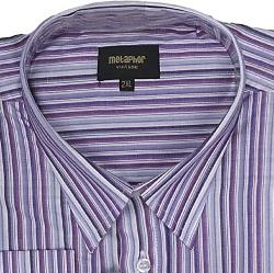METAPHOR Long Sleeve Woven Stripe Shirt  MULTI LAVENDER