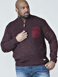 D555   ZIPPER NECK CABLE SWEATER WITH CHEST POCKET STEFON BURGUNDY 2 - 5XL