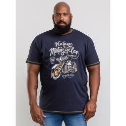 D555  SLATER  VINTAGE MOTORCYCLE PRINT PURE COTTON  TEE  NAVY 3 - 6XL