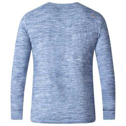 D555  SPACE DYE LONG SLEEVE GRANDAD NECK TEE SHIRT  MACK BLUE 3 - 6XL