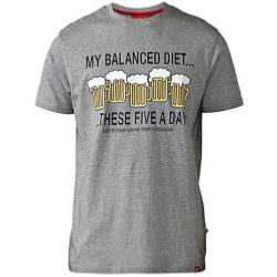 D555 HUMOROUS TEE GREY MADISON GREY MARL BALANCE DIET FIVE A DAY 5XL