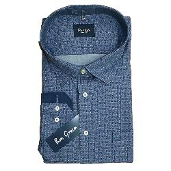BEN GREEN PURE COTTON  LONG SLEEVE CHECK SHIRT - BLUE   3 - 5XL