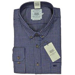 BAR HARBOUR WARM HANDLE  COTTON  CHECK  SHIRT NAVY