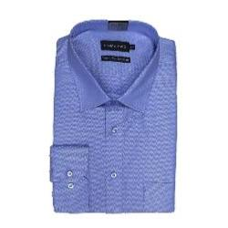 "SALE - DOUBLE TWO  - Herringbone Long Sleeve Formal Shirt  BLUE 19-19.5"" COLLAR / 3XL"